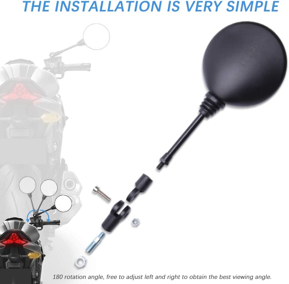 M10 10mm Lenkerendenspiegel Motorrad,2 St/ück Motorrad Spiegel R/ückspiegel 360/°drehbarer Lenkerspiegel f/ür Street Bike Sport Bike Scooter Cruiser Motorbike
