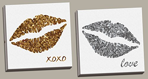 Xoxo Kiss Lips (Fun, Popular Glitter Kiss; Gold and Silver Lips with XOXO and Love, Two 12x12in Stretched Canvases; Ready to hang!)