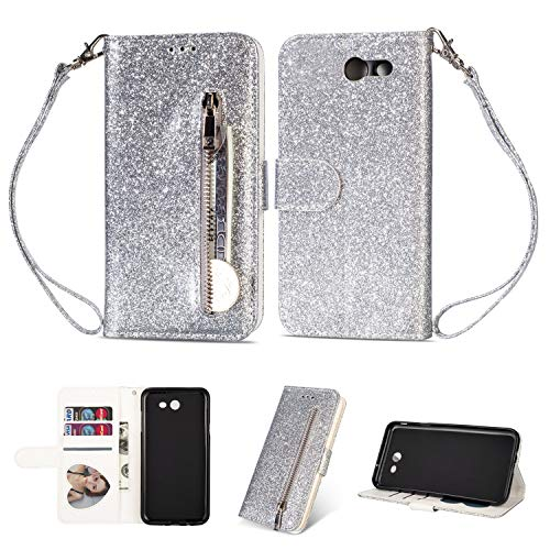 DAMONDY Galaxy J7 2017 Case,J7 Prime,J7 2017,J7 Sky Pro, J7 Perx case, Bling Zipper Stand Wallet Purse Card Slot ID Holders Design Flip Leather Cover Pocket Purse Magnetic Protective-Silver ()
