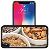 Luxlady Apple iPhone x iPhone 10 Aluminum Backplate Bumper Snap Case IMAGE ID: 34153145 cacao beans nibs and powder in white ceramic bowls against grained wood