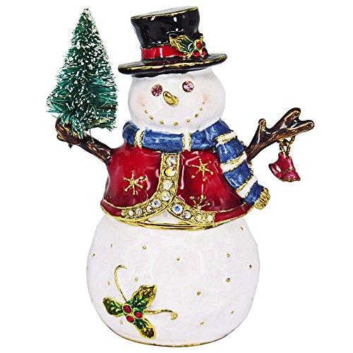 Snowman w/ Tree Jeweled Trinket Box