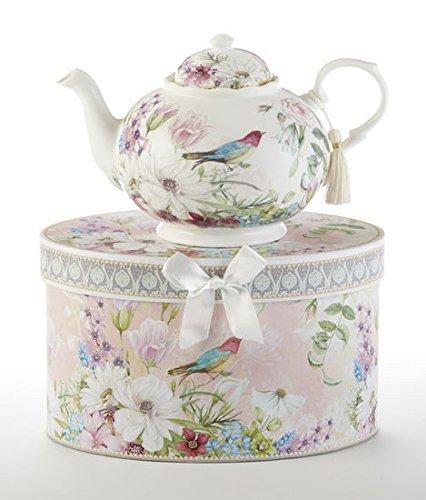 Teapot New Delton Daisy Bird Pastel Flowers Porcelain, Gift Boxed in Hat Box Mother's day, Birthday (Bird Tea)