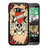 HTC ONE M8 Case,Ed Hardy 11 Black Shell Case for HTC ONE M8,Beautiful Cover