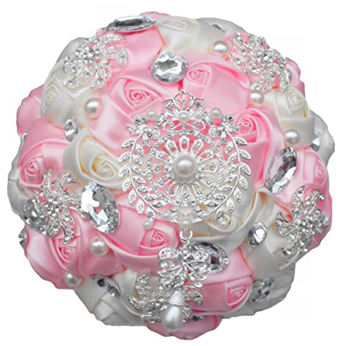 Zebratown 7'' Pink Crystal Romantic Wedding Bride Holding Bouquet Roses Diamond Pearl Ribbon (Pink)