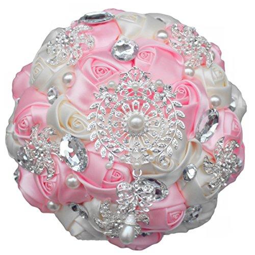 Zebratown 7'' Pink Crystal Romantic Wedding Bride Holding Bouquet Roses Diamond Pearl Ribbon (Pink)