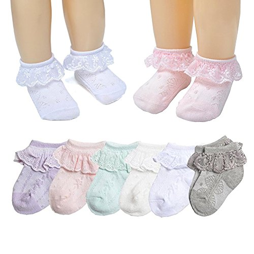 Baby Summer Girls' Princess Lace Thin Spring Summer Cotton Socks Dressy Socks (Multicoloured, (Pink Lace White Ankle Socks)