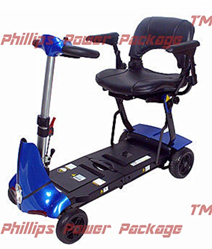 (Solax Mobility - Mobie Plus - Folding Travel Scooter - 4-Wheel - Blue - PHILLIPS POWER PACKAGE TM - TO $500 VALUE)