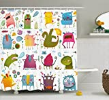 Ambesonne Funny Decor Collection, Cute Cartoon Monsters Kids Design ''Let's Dance'' Groovy Fun Creatures in the Garden Boho Decor, Polyester Fabric Bathroom Shower Curtain Set with Hooks, Multi