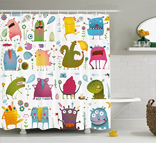 Ambesonne Funny Decor Collection, Cute Cartoon Monsters Kids Design ''Let's Dance'' Groovy Fun Creatures in the Garden Boho Decor, Polyester Fabric Bathroom Shower Curtain Set with Hooks, Multi by Ambesonne