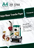 20 Sheets A4 Inkjet Water Slide Decal Transfer Paper, image transfer sheets, DIY photo transfer paper on glass, wood, ceramic, metal, plastic and more. Clear waterslide paper for Inkjet Printer