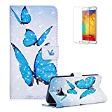 For Samsung Galaxy S6 Edge Case [with Free Screen Protector], Funyye New 3D Fashion [Smooth Surface] lovely Ultra Slim Premium PU Leather Wallet Embedded Flip Magnetic Closure Built-in Credit Card Slot and Soft Silicone TPU Bumper Stand Book Type Case Cover for Samsung Galaxy S6 Edge - Moonshine Butterfly
