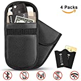 2Pcs Car Key Signal Blocker Pouch + 2Pcs RFID Blocking Sleeves, ID/Credit Card Privacy Protector, Signal Block 2 Layer Wallet, Keyless Remotes Control Entry Fob Guard Signal Blocking Pouch Bag, Blocker Case Antitheft Cell Phone Privacy Protection, WIFI / GSM / LTE / NFC / RF Blocker