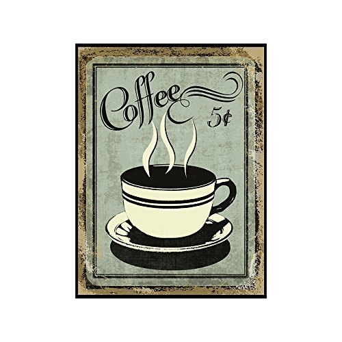 Vintage Wall Decor w/ Coffee Design, Retro 12 x 9 Coffee for 5 Cents Metal Sign, Vintage Tin Signs for Coffee Lovers, Unique Coffee Sign for Mom, Sister, Friend or Coworker, Quirky Tin Home Decor