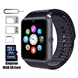 eMARS smart18998 Watch Gt08 Bluetooth with 16 GB SD Card and Sim Card Slot for Android Samsung S5 S6 Note 4 5 Htc Sony LG and iPhone 5/5S/6/6 Plus Smartphones - Black
