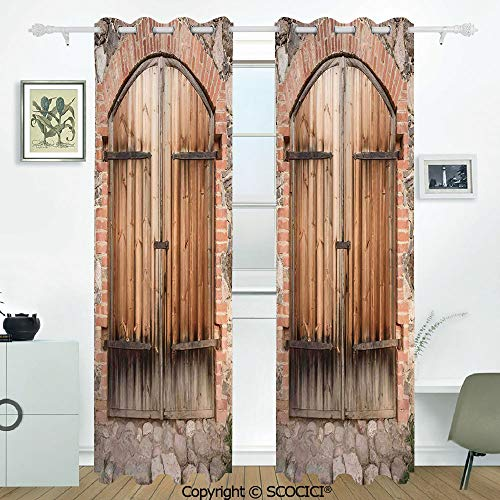 SCOCICI 2 Panel Set Digital Printed Blackout Window Curtains Thermal Insulated Wooden Door of a Stone House with Wrought Iron Elements Tuscany Architecture Photo for Room Window Drapes(W54xL84 inch)