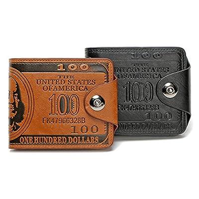 Men's Novelty US 100 Dollar Wallet Bill Money Billfold Safe Purse With Magnetic Buckle-Sibalasi