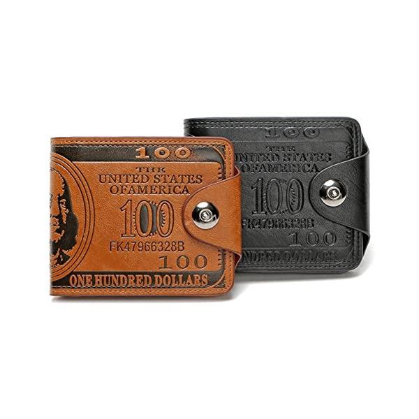 Sibalasi-New Men's US Dollar Wallet Bill Money Bifold Safe Purse With Magnetic Buckle