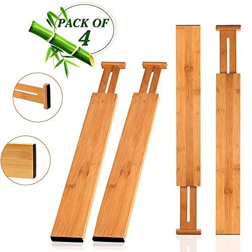 Hossejoy Bamboo Drawer Divider, Kitchen Drawer Organizer Spring Adjustable & Expendable Drawer Dividers - Best dividers for Kitchen, Dresser, Bedroom, Baby Drawer, Bathroom, Desk - Pack of 4
