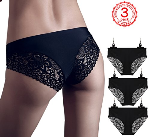 U sweet 3-pack Boyshort panties Women Sexy Lace fun Underwear - Briefs Ladies Knickers Womens Triangle thong All code Freestyle (XL, (Halloween Underwear Womens)