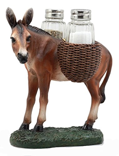 (Ebros Gift Hardworking Country Farm Mule Carrying Saddlebags Figurine Salt Pepper Shakers Holder Decor Of Working Animals Like Horses Donkeys Agricultural Livestock)