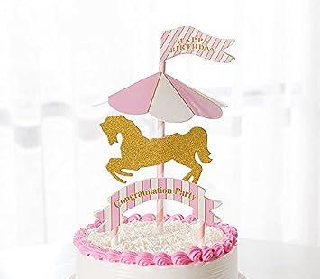 Karussel Cake Toppers Drehendes Pferd Cupcake Deko Happy Birthday Kuchendeko Rosa