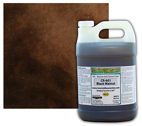 Concrete Stain Professional Easy to Use Acid Stain Black Walnut (Dark Brown to Black Color) - 1 Gallon Concrete Resurrection (Concrete Acid Stain Colors)