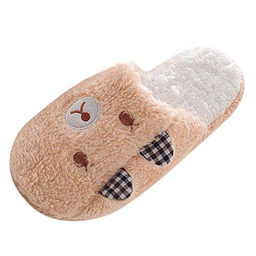Funoc Donna Caldo Inverno Morbido Morbido Peluche Antiscivolo Orso Pantofole Scarpe Casa Coperta