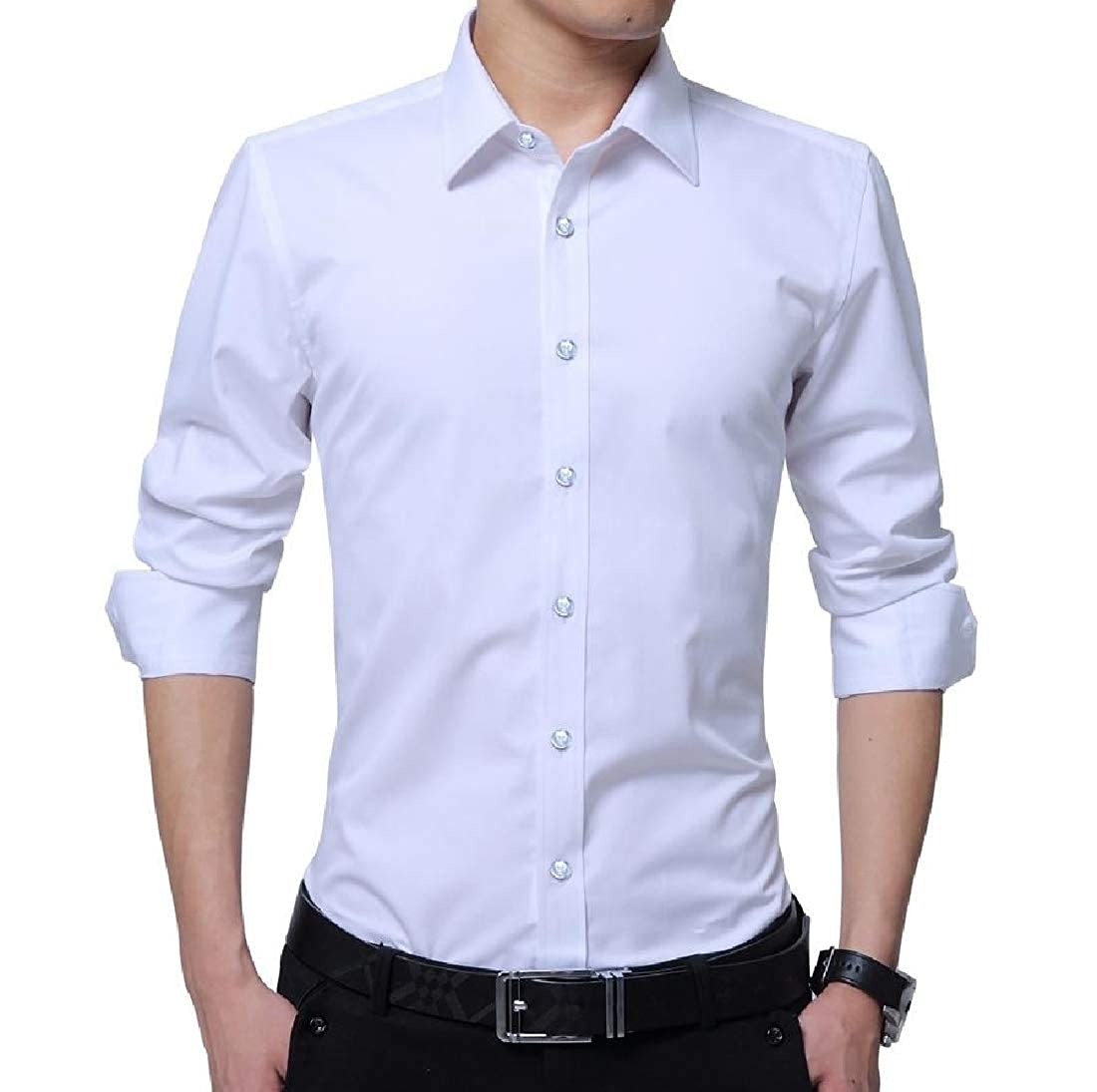YUNY Mens Business Plus Size Tops Solid Colored Classic Sport Shirt White 3XL