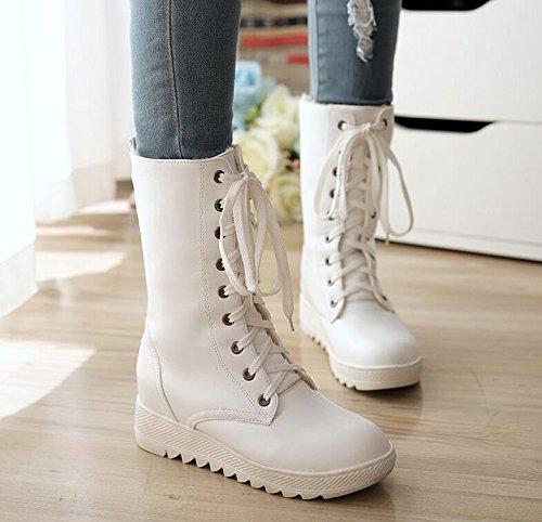 KHSKX-Herbst - Winter - Singles Singles Singles - Stiefel Martin Lederstiefel Flache Schuhe Weiße Frauen Stiefel Größe 42707c
