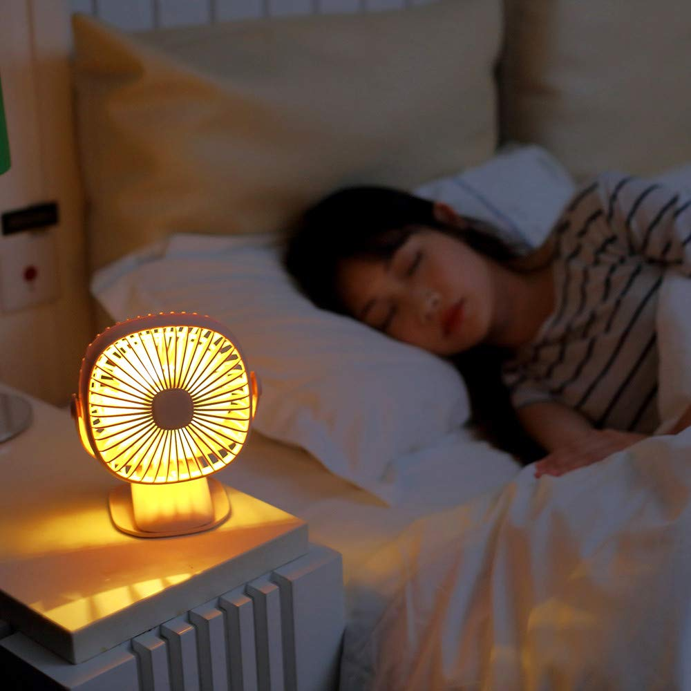 Mini Fan USB, TechCode 3 Speed Adjustable 360° Rotation Portable Personal Fan Small Cooling Table Fan Car Laptop Fan with LED Night Light for Baby Children Girls Women (White) by TechCode (Image #4)