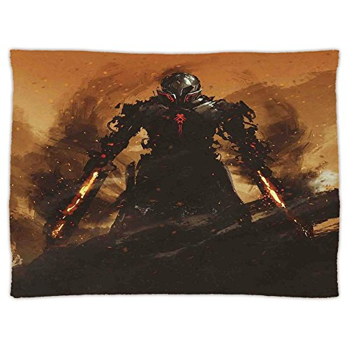 Terminator Blanket - Super Soft Throw Blanket Custom Design Cozy Fleece Blanket,Fantasy World,Robot Warrior Terminator at War Fire Sword Weapon Paint Style Futuristic,Tan and Black,Perfect for Couch Sofa or Bed