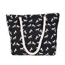 BIBITIME Horse Tote Bag Charm Animal Print Handbags Purses Travel Canvas Beach Crossbody Shoulder Bag (15.75 * 11.81 * 4.72 IN, Black)
