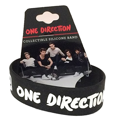 One Direction 1D Embossed Logo Black Silicone Wristband