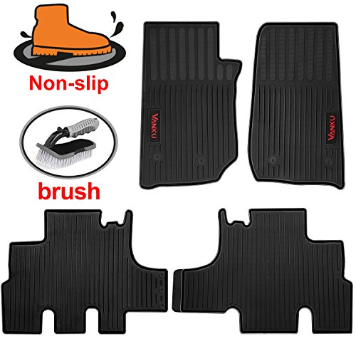 Vanku All Weather Car Floor Mats Fit Jeep Wrangler 4-Door 2010-2017,Full Set 4 Pieces Heavy Duty Truck Mats,Free Brush (Door 4 Piece Floor Mat)