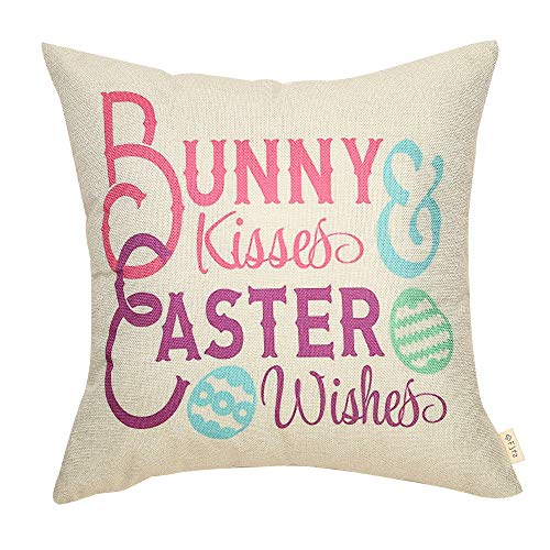 Fjfz Rustic Holiday Decor Bunny Kisses Easter Wishes Farmhouse Gift Spring Decoration Cotton Linen Home Decorative Throw Pillow Case Cushion Cover with Words for Sofa Couch, 18
