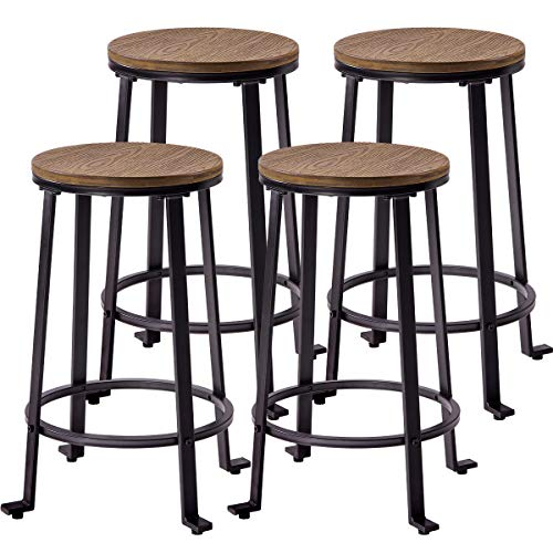 - Harper&Bright Designs Metal Bar Stools, Counter Height Round Wood Top Barstools Set of 4, Light Brown