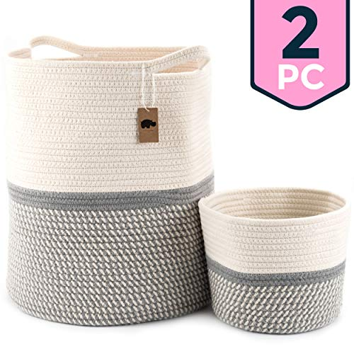 Little Hippo 2pc Large Cotton Rope Basket (16