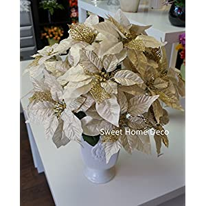 Sweet Home Deco 9''W Silk Shinning Sprakled Poinsettia Artificial Flower Heads (Set of 5) Christmas Decorations (Gold) 3