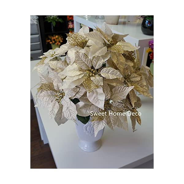 Sweet Home Deco 9''W Silk Shinning Sprakled Poinsettia Artificial Flower Heads (Set of 5) Christmas Decorations (Gold)
