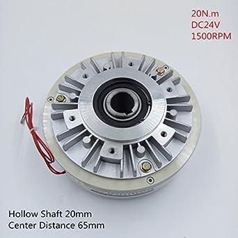 12NM Magnetic Powder Brake DC24V 1500RPM Hollow Shaft 20mm Center Distance 65mm