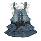 Kiddie Clap Girls' Denim Dungaree Dress With T-Shirt Set(Light Blue)