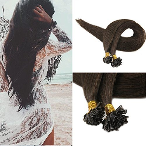 "Full Shine 18"" 1g per Strand 50gram Per Package U Tip Glue in Hair Extensions Remy Human Hair Extensions Color #2 Brown 100% Real Human Hair Keratin U Tip Fusion Human Hair Extensions"
