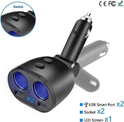 24V 3 prese Splitter per auto Caricatore 2 porte USB Adattatore per auto per GPS Dash Cam Aspirapolvere per auto Adattatore per accendisigari 120W 12V