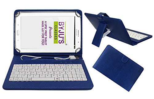 ACM USB Keyboard Case For Byju Learning Tab 10 Inch Tablet Cover Stand With Micro USB OTG   Blue