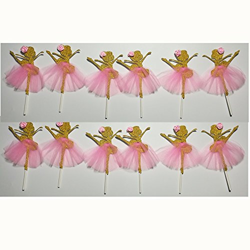 LASLU Cute Ballet Dancer Girls Fairy Peri Dessert Muffin Cupcake Toppers for Picnic Wedding Baby Shower Birthday Party Server(Gold and Pink) (Ballerina Shower Baby)