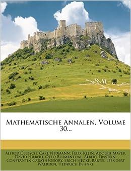 Book Mathematische Annalen. 30. Band