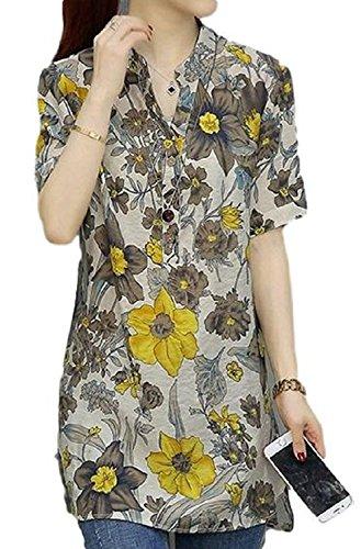 シアー収まる不愉快[Nana_Collection(ナナコレクション)] 春 夏 シフォンシャツ 柄物 半袖 ふんわり 長め丈 大きいサイズ イエロー XL