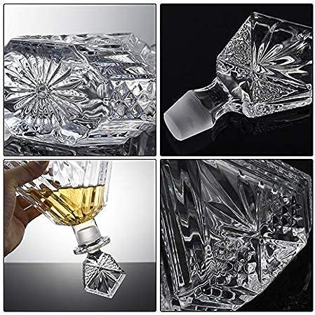 Decantador de Whisky de 7 Piezas, Vasos de Whisky de Cristal/Jarra de Vino de Dibujo de Botella de Vino Tinto, para Regalo del hogar Licor Vodka (Color : B)