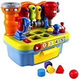 Wolson Musical Learning Tool Workbench Work Bench Toy Activity Center for Kids with Shape Sorter