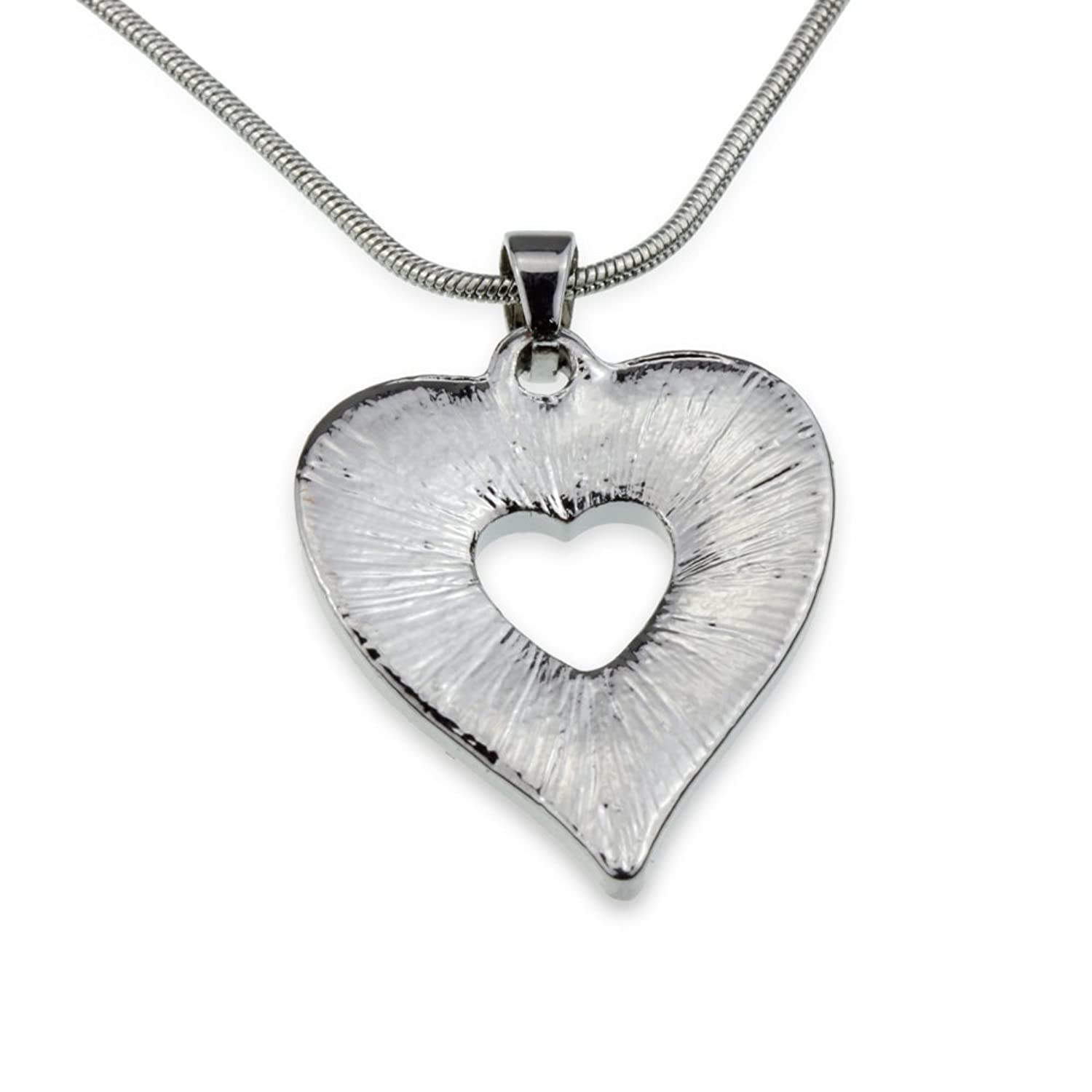 Amazon Silver Crystal Heart Pendant Necklace Best Anniversay
